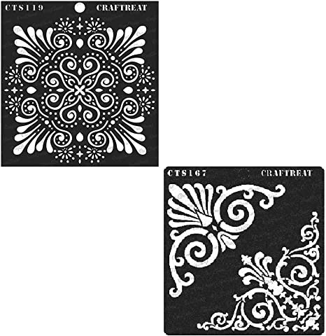 Wall CrafTreat Stencil Home Decor Wood 6x6 inches Crafting Tile Floor Notebook DIY Albums Reusable Painting Template for Journal Fabric Flourish Corner Scrapbook and Printing on Paper