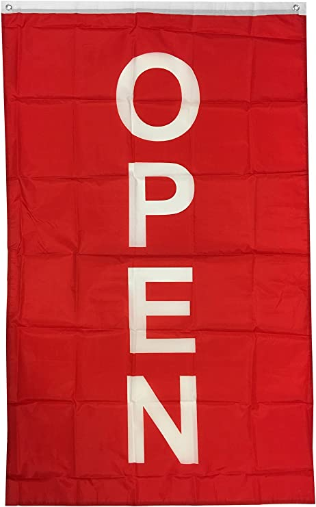 Open Vertical Red White and Blue 3x5 Flag New Business Sold By Neoplex