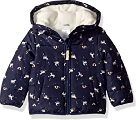 Carters Girls Fleece Lined Puffer Jacket Coat