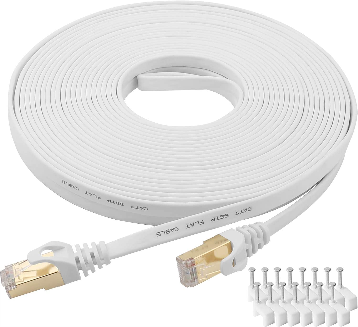 CAT 7 Ethernet Cable 25 Ft White Flat Gigabit High Speed Gigabit Shielded RJ45 LAN Cable: Computers & Accessories