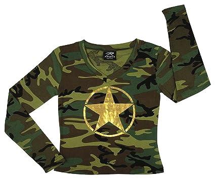 7f6e8974 Amazon.com: Rothco Women's Long Sleeve Camo T-Shirt with Foil Star ...