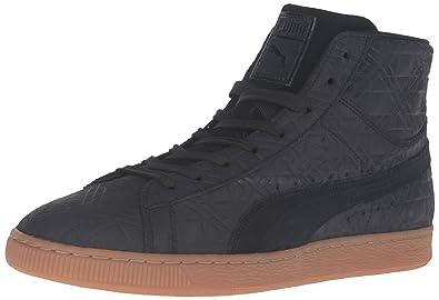 PUMA Men's Suede Mid Emboss FA Fashion Sneaker, Black, ...