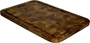 Mountain Woods Brown Organic End-Grain Acacia HardWooden Cutting Board for Kitchen w/Juice Groove | Chopping Board | Butcher Block - 24