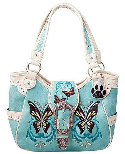 79234f7984 HW Collection Western Buckle Butterfly Rhinestone Concealed Carry Handbag  Shoulder Bag (Mint)  Amazon.co.uk  Shoes   Bags
