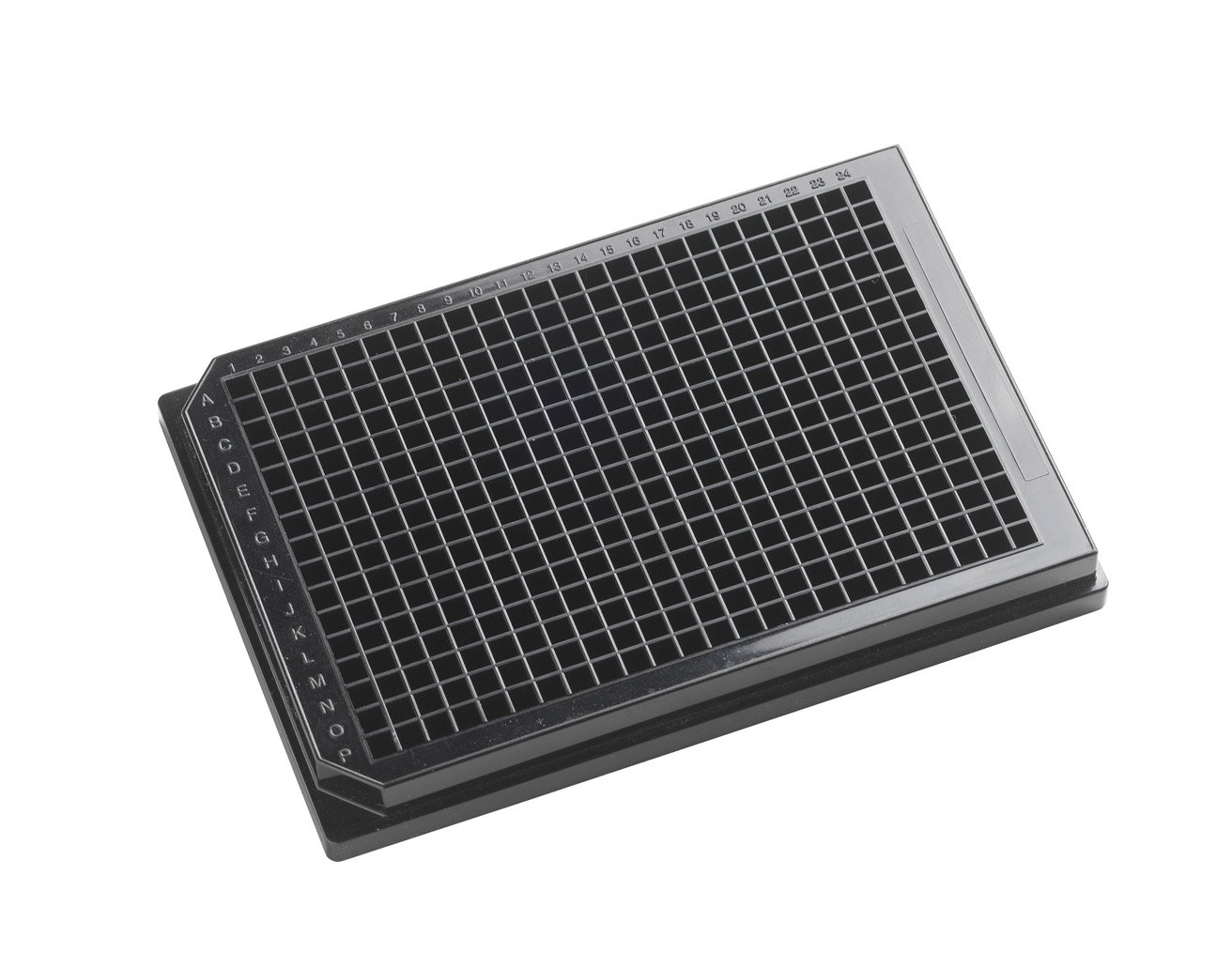 OPAQUE SOLID POLYSTYRENE ASSAY PLATES, 384-Well Microplates - 120µl square well, 384-well 120uL Polystyrene, Black, Tissue Culture Treated,With Lid. Individually packed.