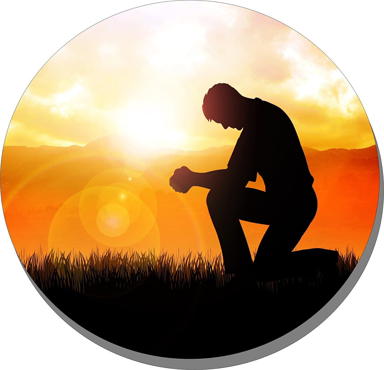 「When Life Is Hard Kneel」 コースター4枚セット コルク裏地 宗教的祈り   B078Y9T1LX
