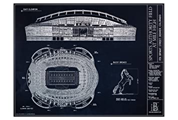 Amazon sports authority field at mile high blueprint style sports authority field at mile high blueprint style print unframed 18quot malvernweather Choice Image