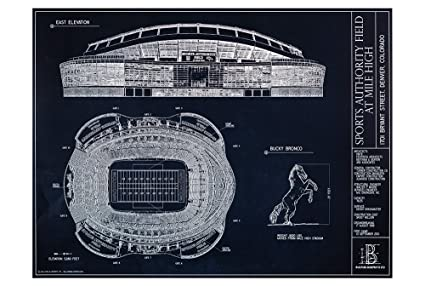 Amazon sports authority field at mile high blueprint style sports authority field at mile high blueprint style print unframed 18quot malvernweather Gallery