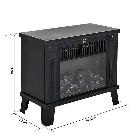 Homcom – Chimenea eléctrica de suelo - Diseño moderno - 600 W/1200 W de potencia con efecto llama - Medidas 34,5 x 17 x 31 cm - Color negro: Amazon.es: ...