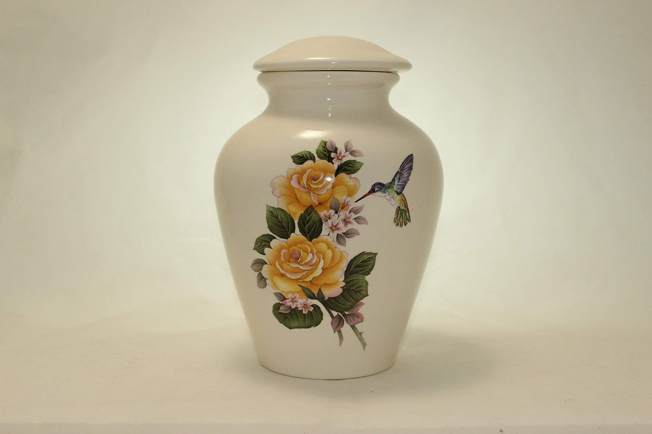 Yellow Rose and Hummingbird Urn- Pansies Cremation Urn or Keepsake for Ashes - Hand Made Pottery (Large 136 Cubic Inches)