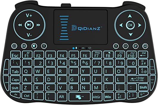 DQiDianZ Mini Teclado inalámbrico 2.4 G touchpad retroiluninadas Teclado inalámbrico para Smart TV Android Box pc-Nero, batería de Litio integrada: Amazon.es: Electrónica