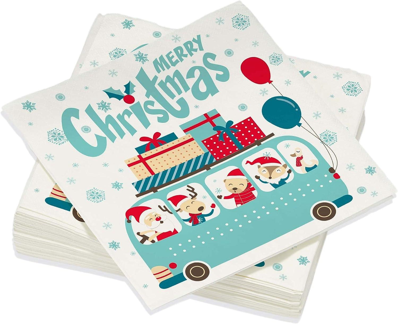 Le Nappage - Servilletas decoradas Niños del autobús de Navidad - Servilletas de papel en pura guata de celulosa - Decoración navideña tradicional - Juego de 20 servilletas tamaño 40 x 40 cm
