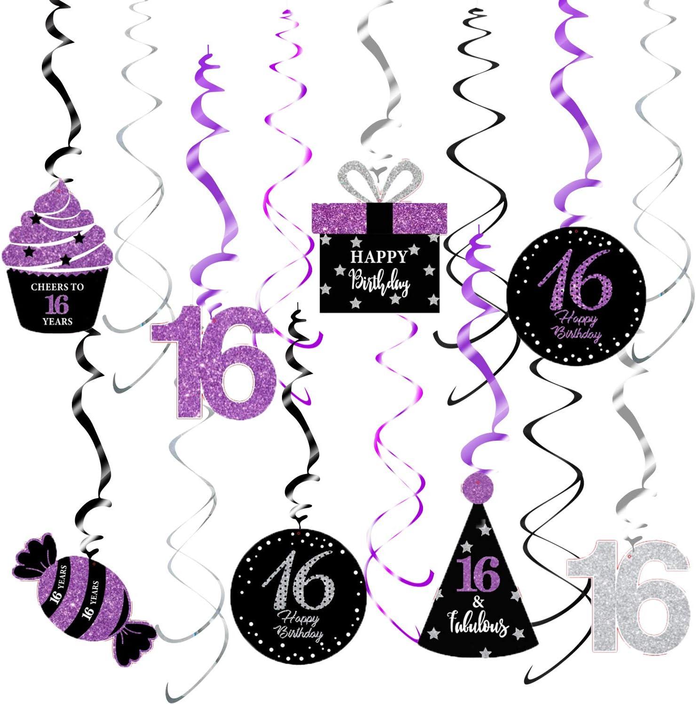 Sweet 16 Birthday Decorations Purple Silver Black for Women Qian's Party Purple Silver Black Foil Hanging Swirls Decorations Girl 16th Birthday Party Hanging Decor – Girl 16th Birthday Party Decoration Swirls of 15pcs
