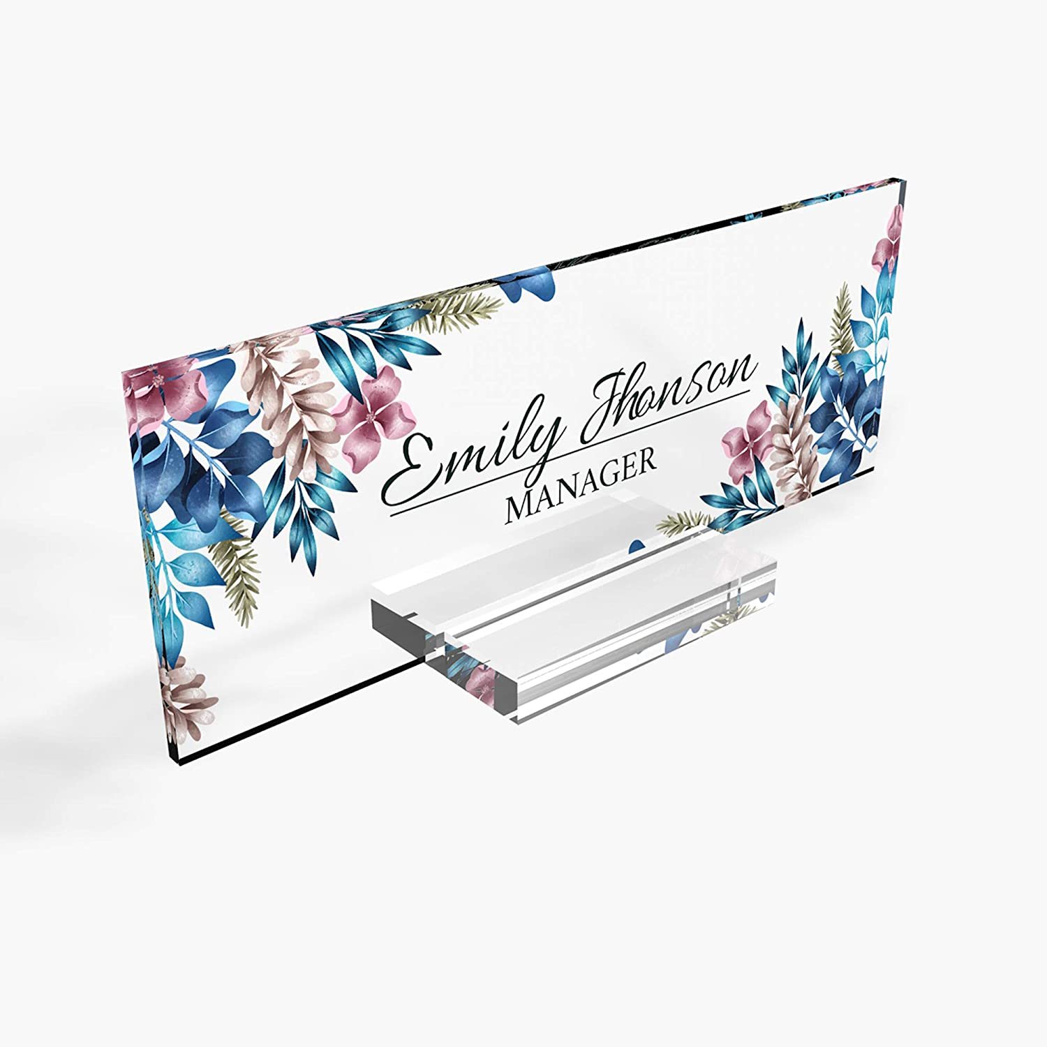 "Personalized nameplate Desk Decor Office Unique Gift Custom Logo tech Desk Custom Name Plate for him and her Occasion Gift for Teacher frineds (8""x2.5"") (Blue Flower)"