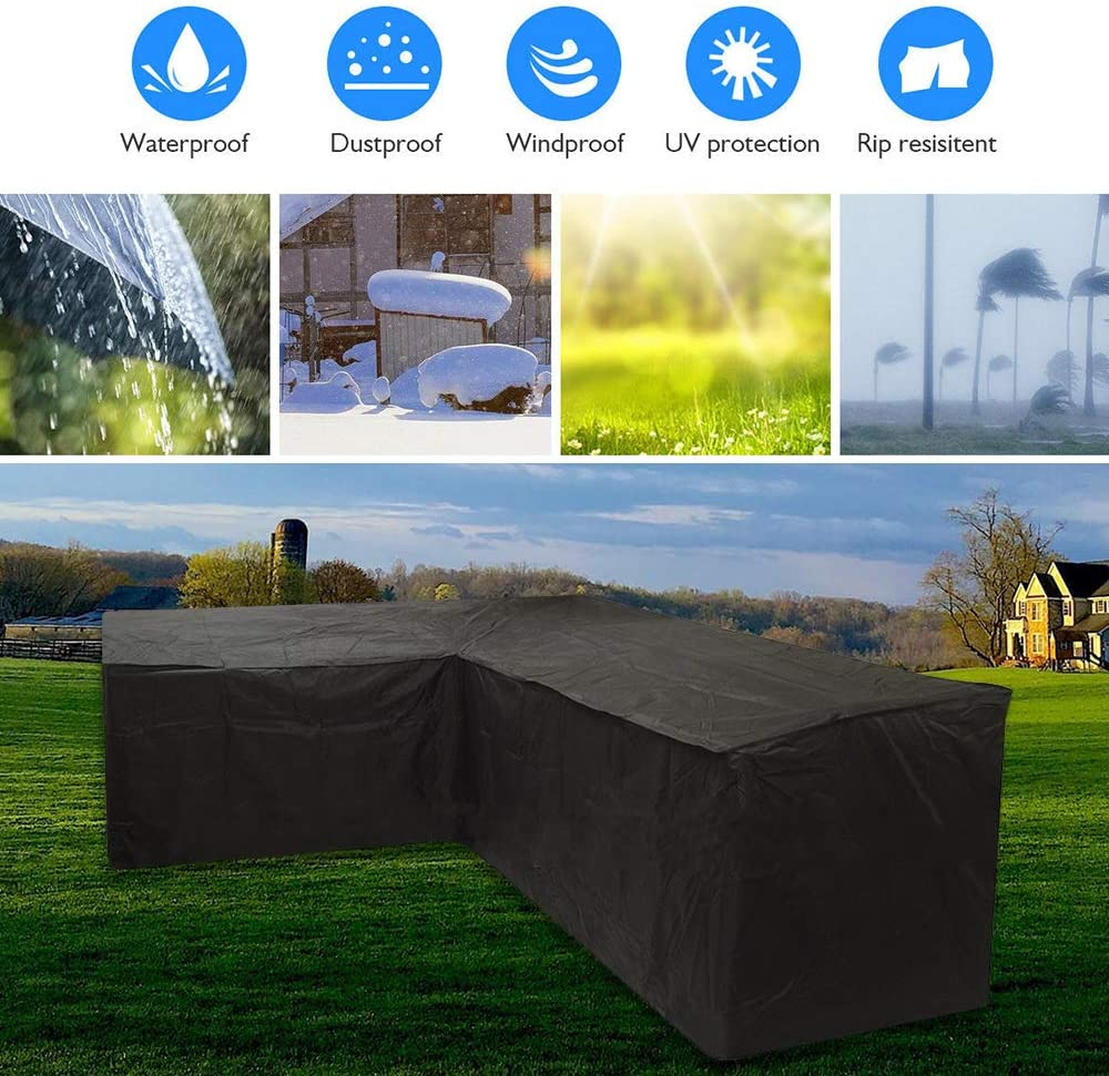 Yours Bath Large L Shaped Garden Furniture Covers Square Table Cover Set Waterproof Windproof Heavy Duty Outdoor Patio Dining Patio Set Protect Cover With Storage Bag 215X215X87cm Black