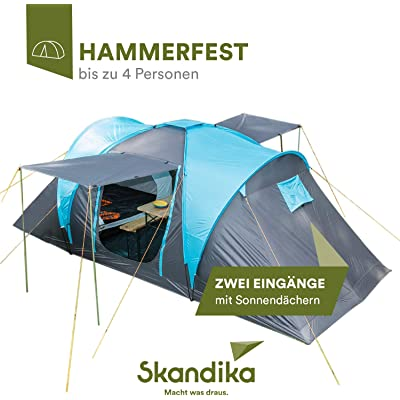 Skandika Hammerfest – Tienda de campaña para 4 personas, con 2 techos solares, con/sin suelo de tienda de campaña cosido
