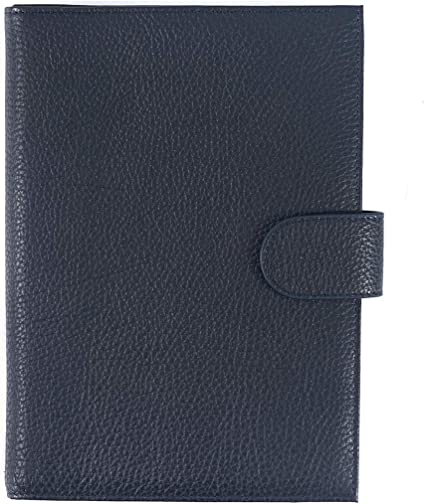Moterm Leather Cover for Hobonichi Weeks Milled-Blue with Pen Loop and Card Slots