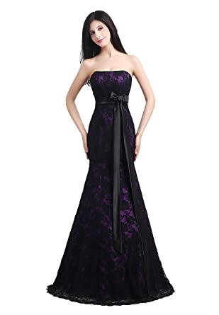 Annas Bridal Womens Mermaid Prom Dresses Formal Lace Evening Gowns Purple US2