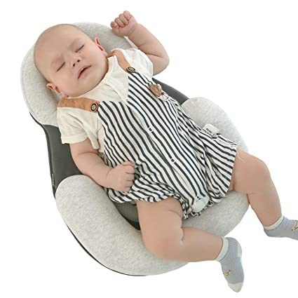 Baby Pillow New Born Baby Cotton Protective Pillow Baby Sleeping Pad Head Shaping Pillow Grey