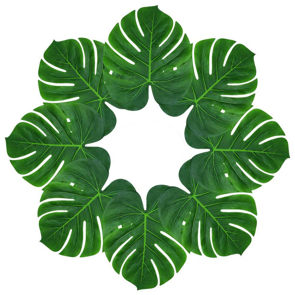 Soyee 48pcs Tropical Large Palm Leaves, DIY Waterproof Artificial Leaf Placemats and Table Runners for Hawaiian Luau Party Decoration, Jungle Party Supply