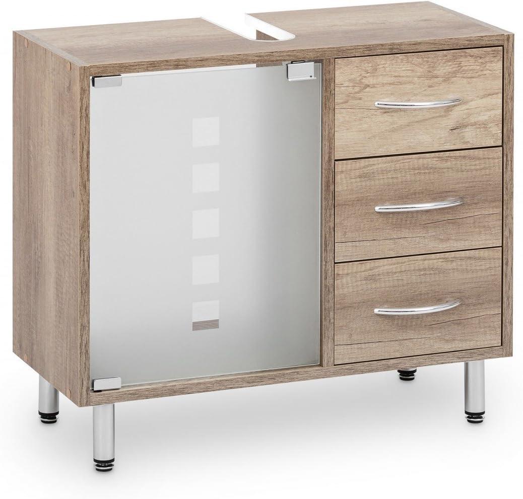 Galdem – Mueble bajo lavabo, con 3 cajones, puerta de cristal ...