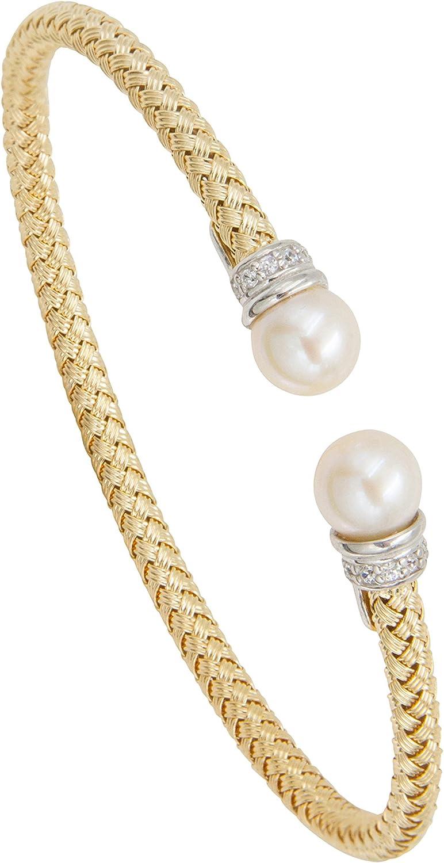 Italian Freshwater Pearl and Brilliant Cut Cubic Zirconia 925 Silver Bracelet