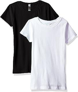 bc72aed1 Amazon.com: Girls T Shirts Crew Neck 100% Soft Cotton Short Shirts ...