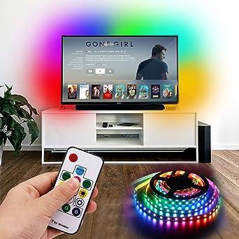 XUNATA WS2812B - Tiras LED RGB para televisor de 40 a 60 HDTV (mando a distancia de 14 teclas, varios colores, fuente de alimentación USB), Wasserdichte Ip65, 1m 60LEDs: Amazon.es: Iluminación