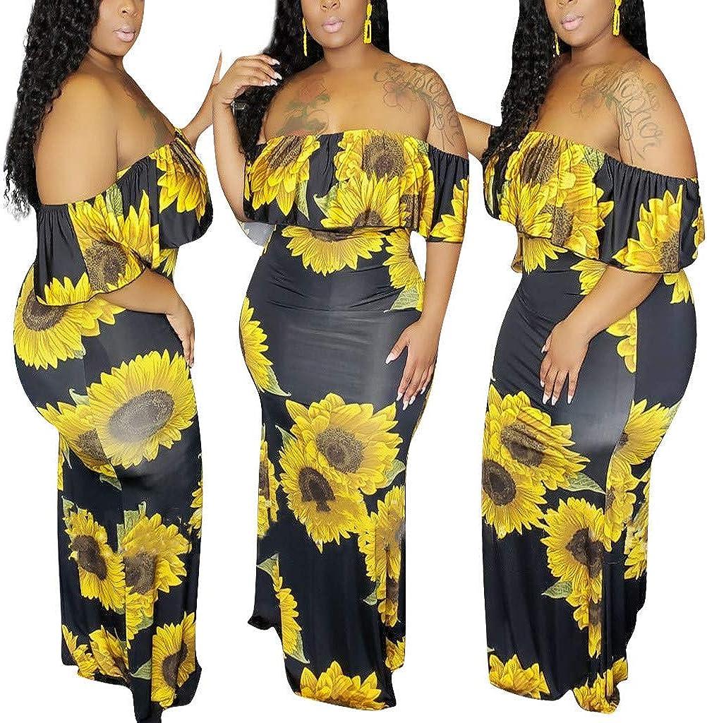 Oyedens Plus Size Dress for Women//Ladies,Womens Plus Size Slash Neck Short Sleeve Sunflower Print Ruffled Dress