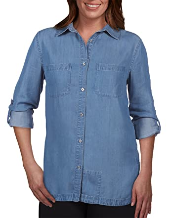 4ae123e7 SCOTTeVEST Charlotte Chambray Shirt - Button Down Shirt for Women with  Pockets (IND L)