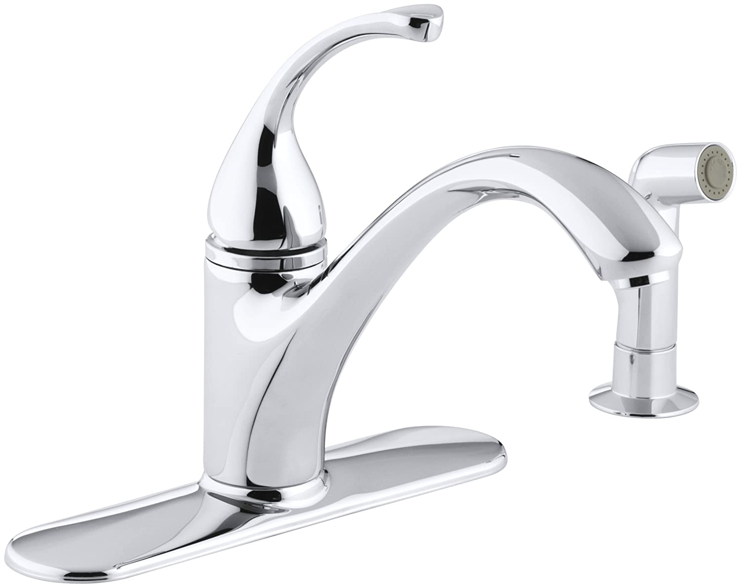 KOHLER K-10412-CP Fort R 4-Hole Sink 9-1 16 spout, Matching Finish sidespray Kitchen Faucet, Polished Chrome
