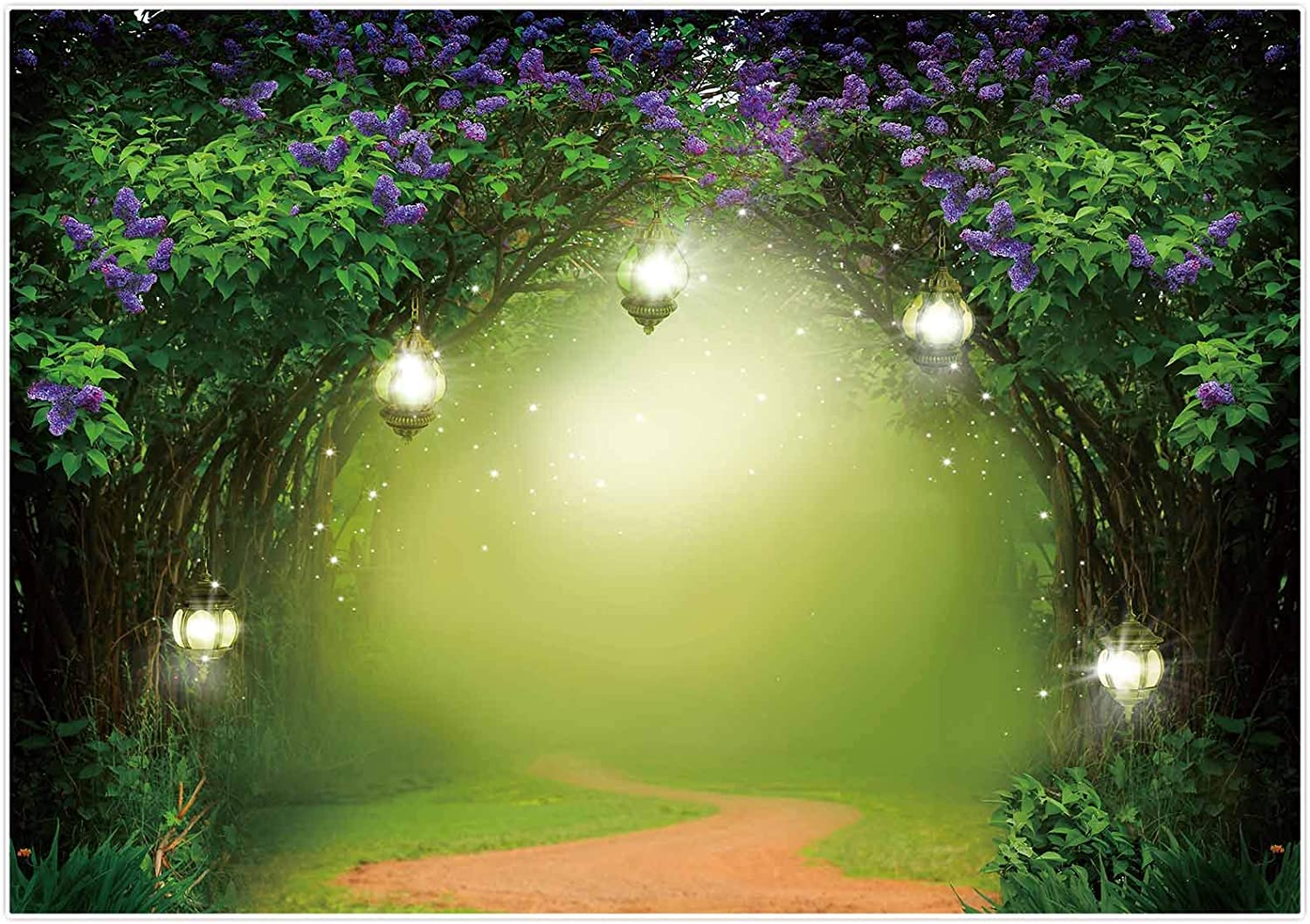 Allenjoy 7x5ft Spring Enchanted Forest Photography Backdrop Magic Garden Fairy Tale Wonderland Background for Girls Princess Baby Shower Happy Birthday Party Decor Banner Portrait Photo Booth Props