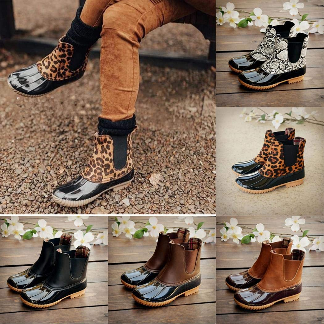 fnemo Mujer Casual Impermeable Patchwork sin Cordones Botas cálidas Suaves Botas