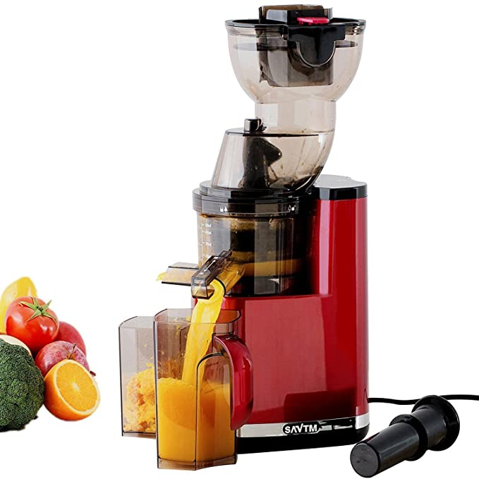 SAVTM JE120-08M00 New Electric Masticating Wide Mouth Whole Chute Anti-Oxidative Fruit and Vegetable Slow Juicer, Red(250W AC Motor, 35 RPMs, 3.5