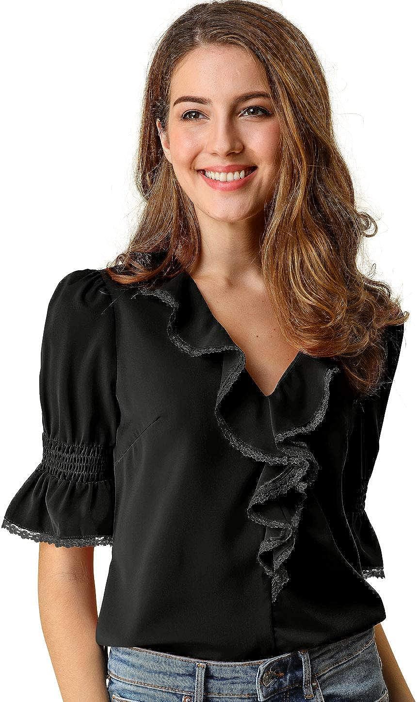 Allegra K Womens Ruffle V Neck Half Bell Sleeve Blouse Summer Vintage Casual Chiffon Peasant Top