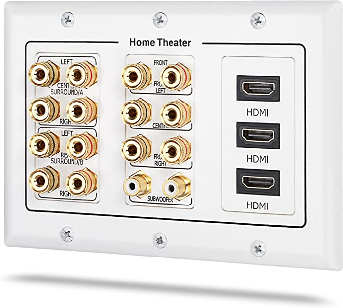 3 Gang Wall Plate, Fosmon (3-Gang 7.2 Surround Sound Distribution) Home Theater Copper Banana Binding Post Coupler Type Wall Plated for 7 Speakers, 2 RCA Jacks for Subwoofers & 3 HDMI Ports