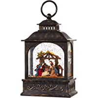 RAZ Imports Nativity Scene Lighted Water Lantern 8 Inch Lighted Christmas Snow Globe with Swirling Glitter Battery Operated and USB Powered