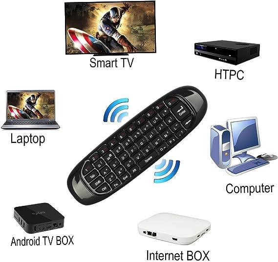 e-jiaen C120 2,4 gHz aire Fly Ratón Inalámbrico Mini Teclado con ratón juego mango Android mando a distancia para SMART TV Android TV Box PC HTPC IPTV Media Player: Amazon.es: Electrónica