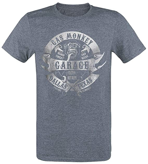 Gas Monkey Garage Wrenches and Banners Camiseta Azul Jaspe: Amazon.es: Ropa y accesorios