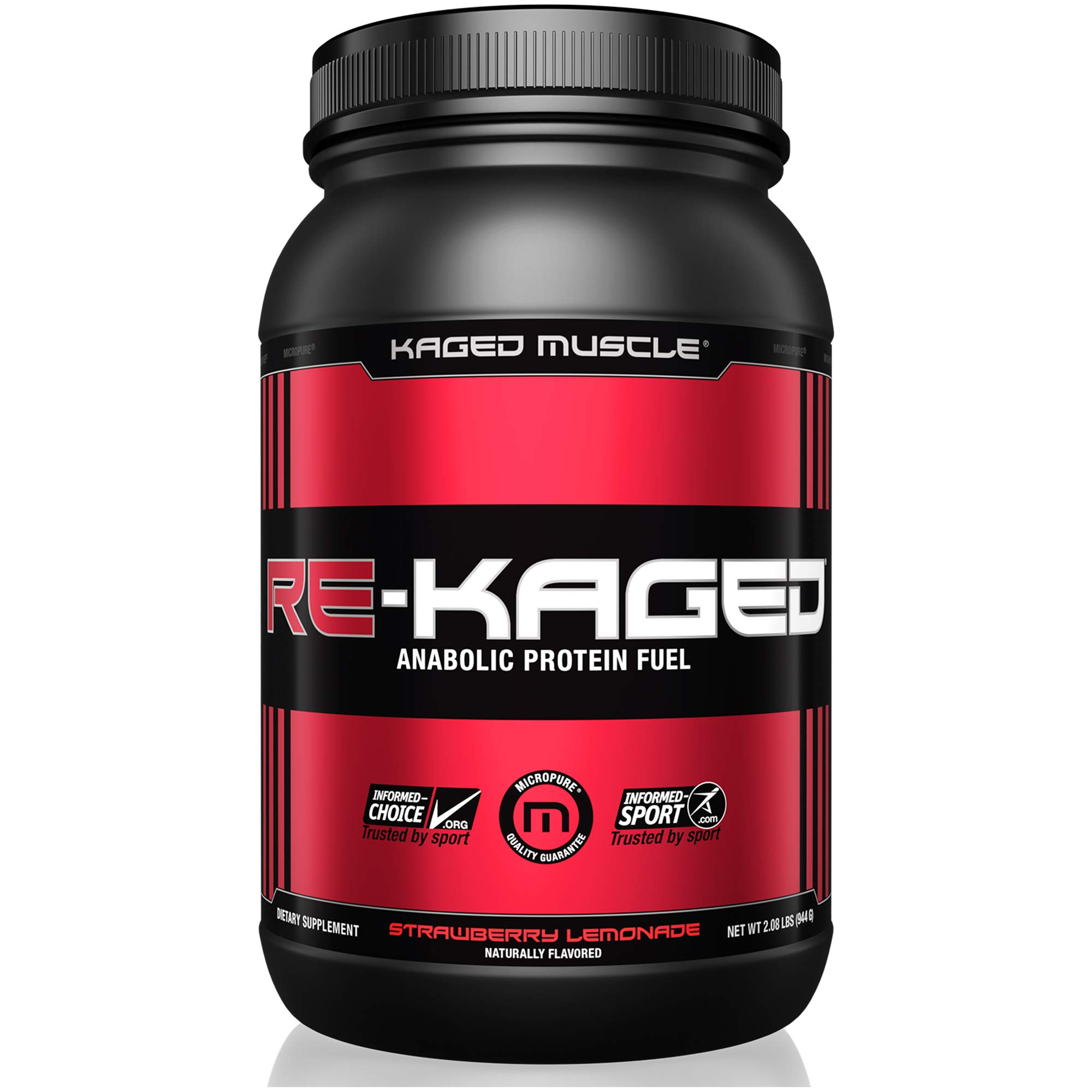 KAGED MUSCLE, RE-KAGED Whey Protein Powder, Post Workout Recovery, BCAA's, EAA's, Creatine HCl, Glutamine, Betaine, Natural Flavors, Strawberry Lemonade, 20 Servings by Kaged Muscle