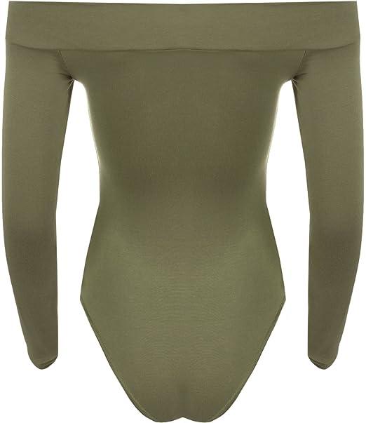 WearAll - Tiefebene Schulterfrei Langarm-Trikot Top Bodysuit - 7 Farben - Größen  36-42: Amazon.de: Bekleidung