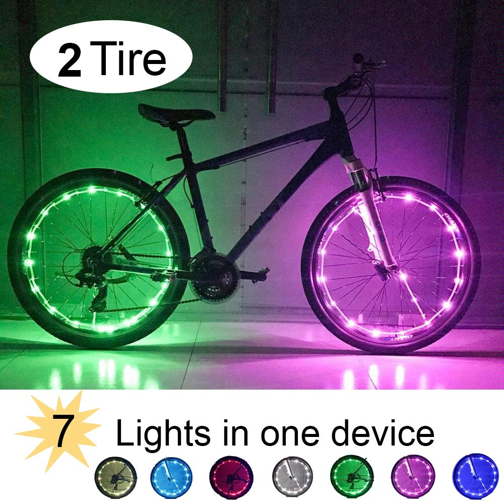 RiverLight Bike Wheel LED Changeable 8 Lights with USB Rechargeable Battery Instant Brightness Visibility for extreme Safety Style 2 Tire Pack