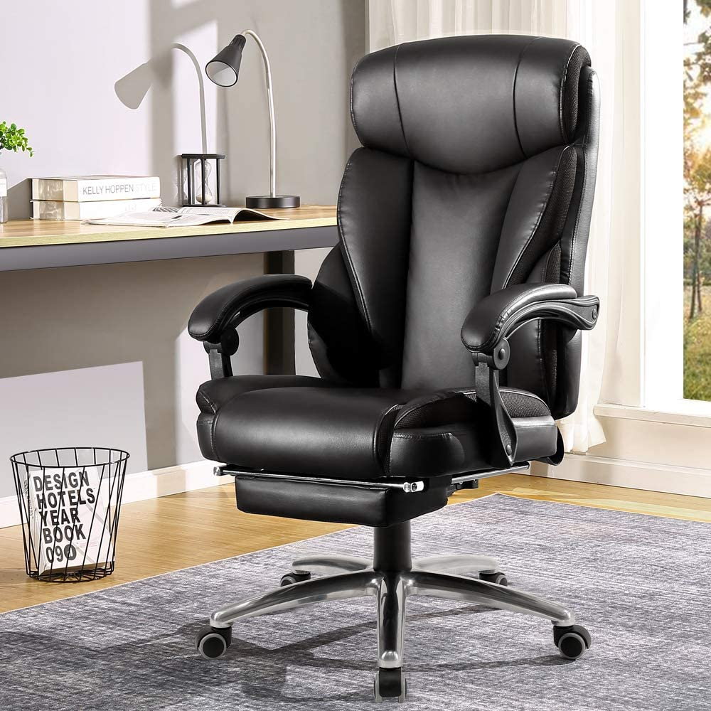 Black BERLMAN Ergonomic Recliner PU Leather High Back Office Chair Managerial Chair Executive Chair Desk Chair Computer Chairwith Footrest