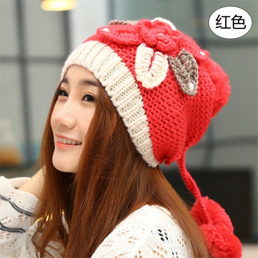 BTBTAV Donna hat bambini autunno e inverno tempo libero fashion ladies berretto lavorato a maglia cappuccio caldo incantevoli Ladies orecchio tappo elastico 55-59[cm] testa,gules