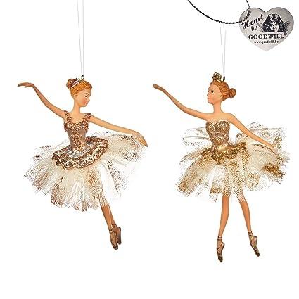 Decorazioni Natalizie Ballerine.Goodwill Ballerine Crema E Oro Decorazione Di Natale Da Appendere