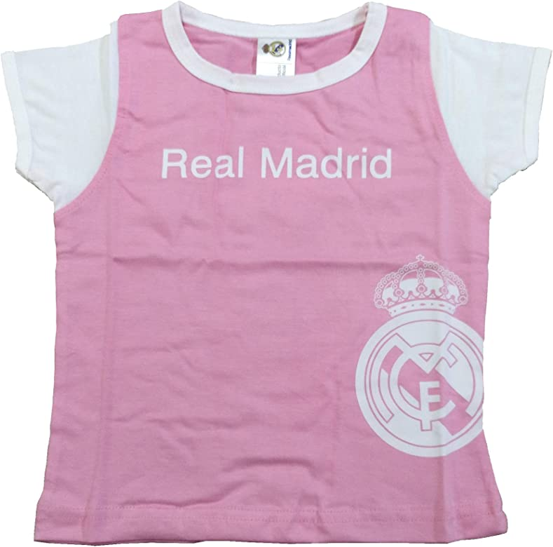 Camiseta Real Madrid Niñas - Rosa - Escudo Real Madrid Blanco (6 ...