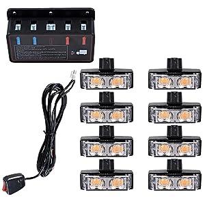 8pcs Amber 2-LED Emergency Warning Grille Flash Strobe Lights Bar w/Clips + Control Box Kit