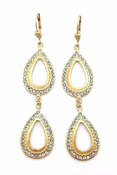 d677db210b1a5 Amazon.com: Catherine Popesco Dark Grey Swarovski Crystal Double ...