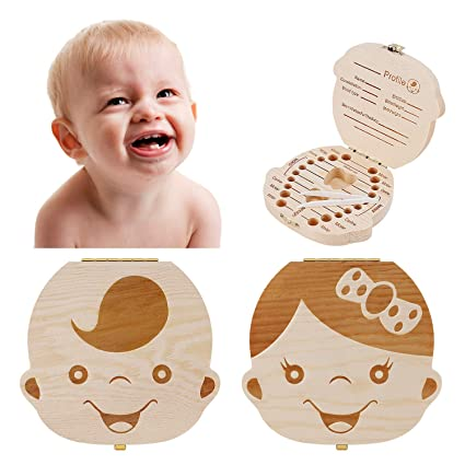 Storage Small Kids Childs New Baby Tooth Keepsake Wooden Box Boy Girl Save Teeth