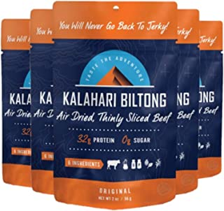 product image for Original Kalahari Biltong, Air-Dried Thinly Sliced Beef, 2oz (Pack of 5), Sugar Free, Gluten Free, Keto & Paleo, High Protein Snack